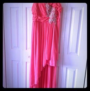 High-Low deep peach dress